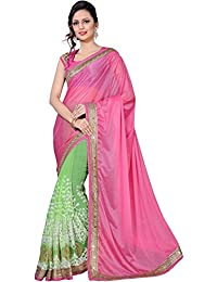Lajree Designer Georgette Saree With Blouse Piece (Fba Swif Lycra_Pink_Free Size)