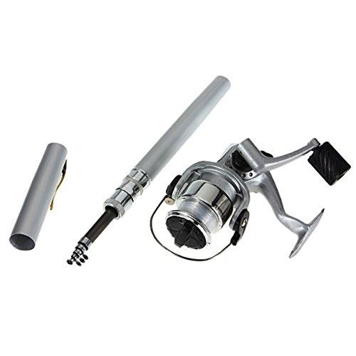 Foxnovo 1M tragbare Teleskop Aluminiumlegierung Mini Pen Angelrute Pole Fishing Reel Nylon Line Set (Silber)