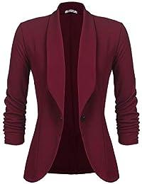 6710fec7f5e29 UNibelle Femme Veste Blazer Veste De Costume Courte Casual Slim Un Bouton  Noir Kaki