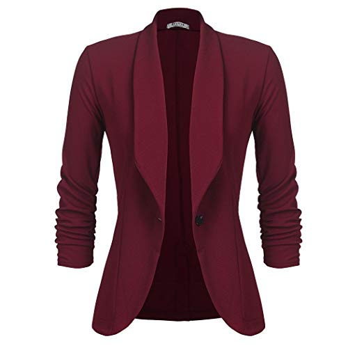 UNibelle Damen Blazer Dünne Frühling Kurzblazer Langarm Jacke Business Büro Party Freizeit Anzug Oberteile Weinrot M