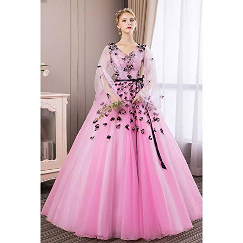 QAQBDBCKL Königin Cosplay Rosa 3 Blumen Mittelalter Kleid Renaissance Kostüm Victorian/Marie Antoinette Belle Ball (Marie Antoinette Sexy Kostüm)