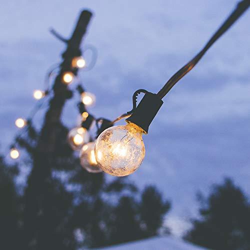 Guinguette guirlande lumineuse Extérieur, 25 ampoules avec 2 ampoules rechange, étanche IP44, E12 Base,pour Patio, Café, Jardin, Décoration de Parti, EU