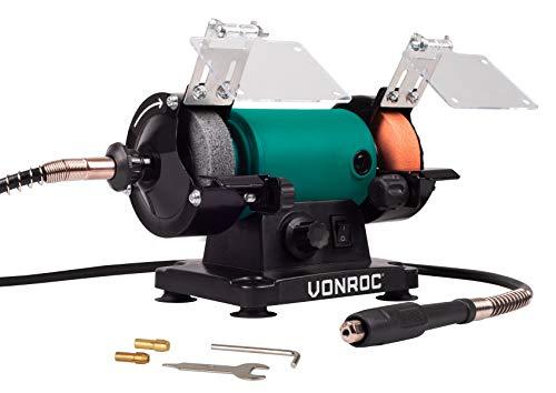 VONROC Doppelschleifer/Doppelschleifmaschine/Multifunktionswerkzeug 150W - 75mm mit flexibler Welle