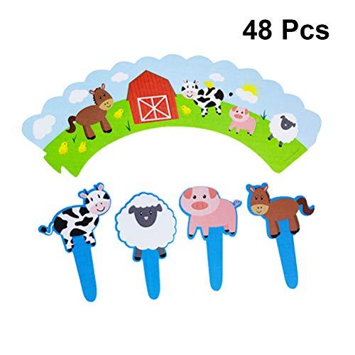Bauernhof Kuchen Topper Kuchenverpackungen Vieh Cartoon DIY Kuchen Dekoration für Baby Shower Animal Theme Party Decor ()