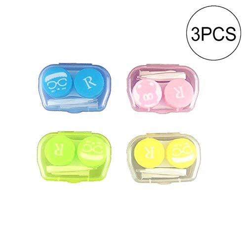 3 Packs Bunte Kontaktlinse-Kasten-Halter-Behälter-Kasten Einweichen Speicher Eyecare Kit (Farbe Random)