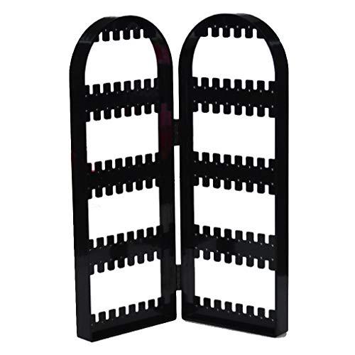 Pigupup 2/4 Türen Ohrring zeigt durchsichtigen Kunststoff Display Rack Ketten-Armband-Ständer Faltbare Organisator-Halter Black 21 * 2 * 28.5cm