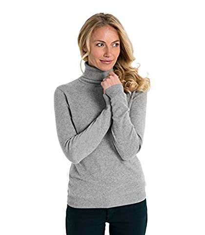 WoolOvers Rollkragenpullover aus Merinowolle-Kaschmirwolle für Damen Flannel Grey,