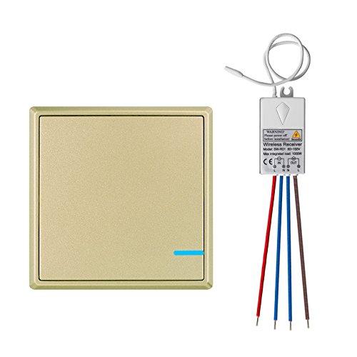 TSSS Gold Hotel Bar Wireless Lichtschalter mit Empfänger Kit mit LED Anzeige Licht Außen 1900 ft Drinnen 200 ft Ferngesteuert Deckenlampe LED Lampen Birne IP54 Damp Proof -30 ~ + 75 ℃ - NO APP NO Wi-Fi (Ferngesteuerte Lichtschalter)