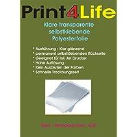 10 fogli di formato A4 adesivo chiaro / trasparente! Un rivestimento speciale pellicola e fornito sul retro con un adesivo permanente. Perfetto anche per alta definizione adesivi, etichette, segni ed etichette.