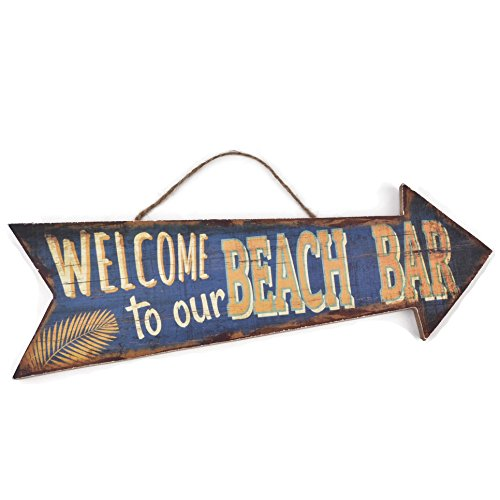 Dadeldo Holzschild Welcome Beach Bar Design MDF 10x30cm bunt Wand-Bild Deko (Motiv 3)
