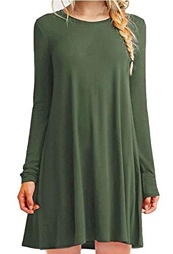 ZIOOER Damen Sommerkleider Kleider Casual MiniKleid Langes Shirt Lose Freizeitkleider Tunika Langarm Tshirt Kleid Abendkleid Armygrün S -
