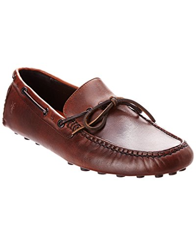 FRYE Mens Russel Tie Classic Moccasin Cognac Vintage Pull Up