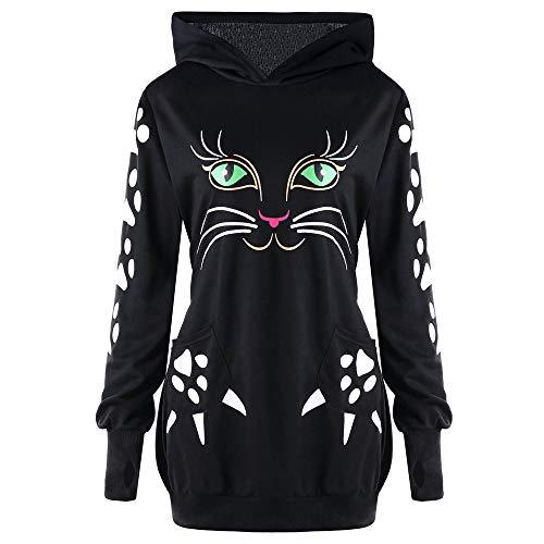 n Kostüm Rundhals Katze Drucken Mit Ohren Langarm Sweatshirt Pullover Tops Kapuzenpulli ()