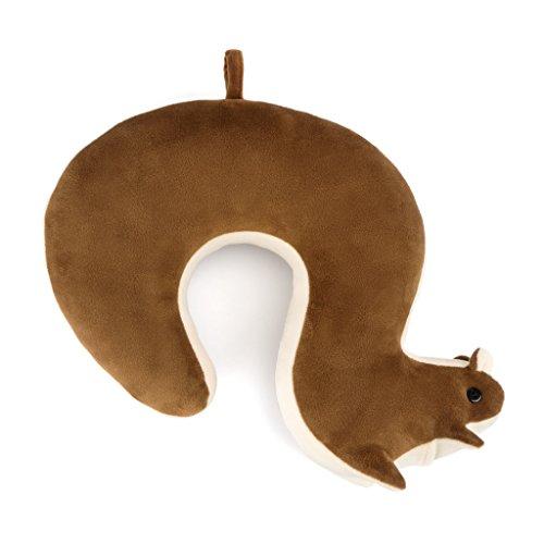 Balvi Cuscino da Viaggio Squirrel Colore Marrone con Forma di Scoiattolo Include Un Taschino ed Un Occhiello per appenderlo Cotone