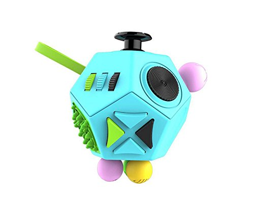 2PCS Fashion Fidget Cube 2 toy with Active Rocker Fidget Cube II Anxiety Stress Relief Focus 12 sides Dice for Adults Children Gadget PINK +BLUE color -