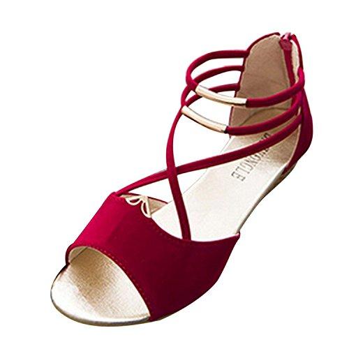 Minetom Damen Sommer Sandalen Peep Toe Schuhe Retro Stil Keilabsatz Sandalen Rot