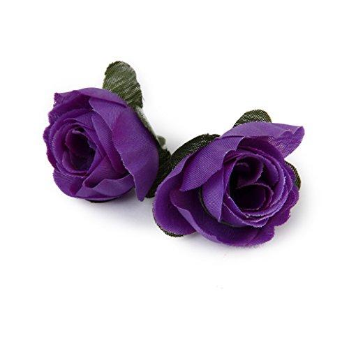 50pcs Artificial Roses Flower Heads 3cm Wedding Decoration Dark Purple