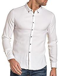BLZ jeans - Chemise homme élasthanne blanche unie boutonnée