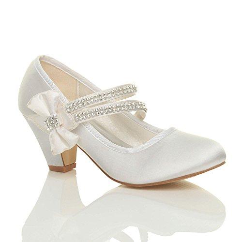 Mädchen Mary Jane Riemen Schleife Brautjungfer Hochzeit Abendschuhe Größe 3 (Mädchen Hochzeit Schuhe)