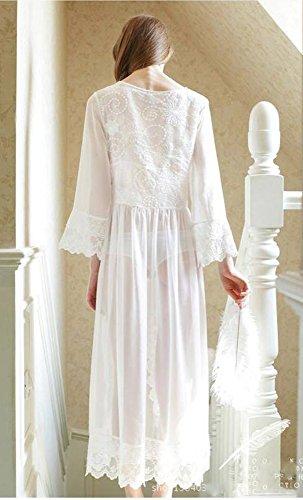 BN BININBOX® Damen Mädchen europäischen langen Abschnitt Pyjamas weißen Chiffon Spitze Schlafanzug Nachthemd Perspektive wunderschöner Schlafrock Nightgown Weiß