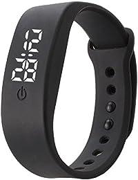 Delleu, mini orologio da polso, moderno, per uomini, donne, studenti, bambini, adatto per lo sport, a LED, elettronico, in silicone nero Nero