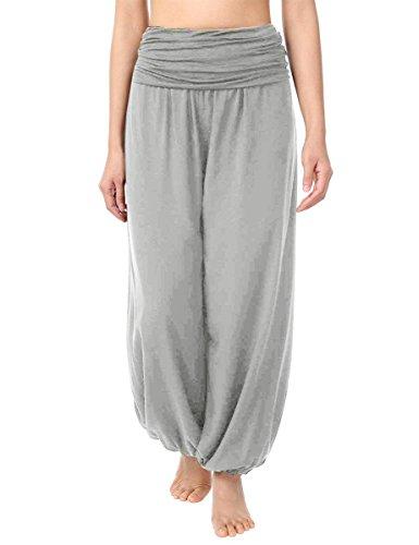 Cassiecy Haremshose Damen Elegant Pumphose Casual Yogahose Weiche Lange Hose Pilates Hosen (M, Grau)