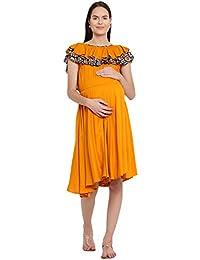 Mine4Nine Women's Rayon Maternity Midi Dress (Mustard, MNDR5802)