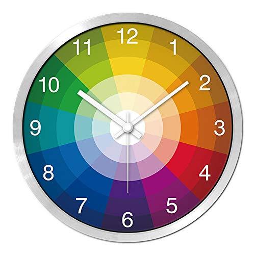 HomeClock Kreative Chromatographie Uhr modern Persönlichkeit zu Hause Wanduhr Wohnzimmer Schlafzimmer Kunst still Tisch 14 Zoll weiße Nadel Silberrahmen