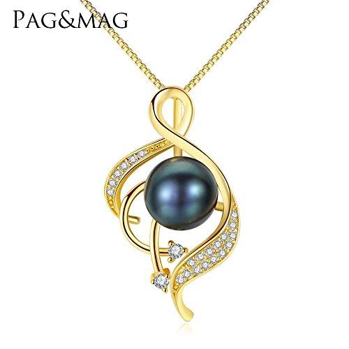 Haixin Naturel d'eau douce perle collier S925 argent sterling Dame pendentif en or chaîne longue de 40 cm + 5 cm