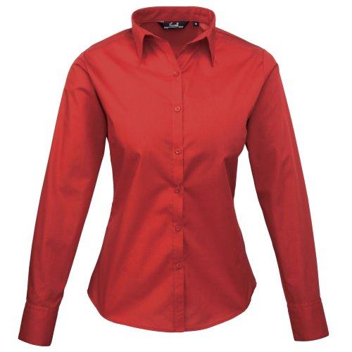 Premier Frauen/DamenPopeline Bluse / Schlichtes Arbeitshemd lang�rmelig (42)(Size:14) (Rot) DE...