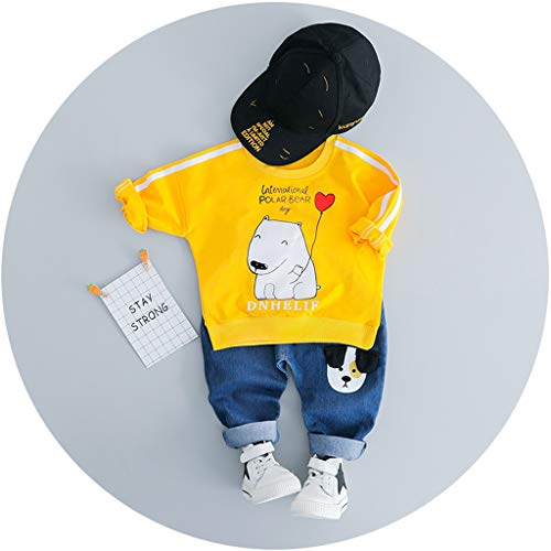 MRULIC Reizender Baby Playsuit Overall Kaninchen Ohr Badysuit stellt Outfit Pullover Jumper Herbst Frühlings Oberbekleidung Langhülse Knopf unten Hosen EIN (95-100CM, A5-Gelb)