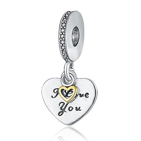 Waya Perles Européennes I Love You Cœur Bracelet Charms pour bracelet Pendentif Collier Argent Serpent Bijoux