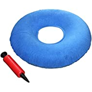 """Donut cushion - Coccyx donut cushion -Ring cushion 15"""" with Pump and Travel Bag- inflatable cushion pillow for Hemorrhoids, Pregnancy, Tailbone Pain, Prostate and Sores-Use in the Home, Car or Office"""