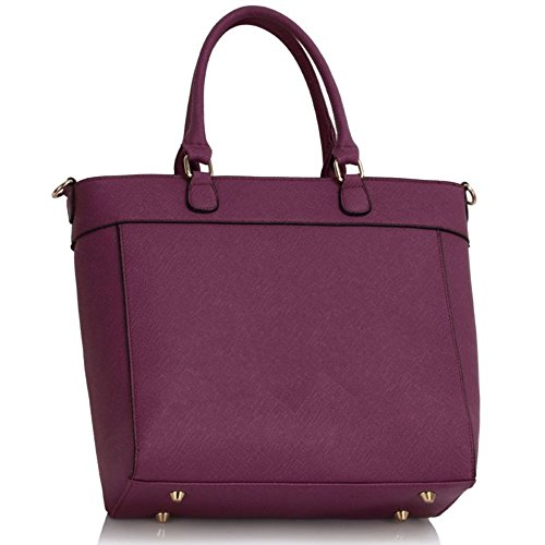 Leahward® New Ladies Fooder Tote Bags Con Charms Nappa Ladies Cute Grab Shoulder Bag Hand Bag 404 Tote Bag Purple