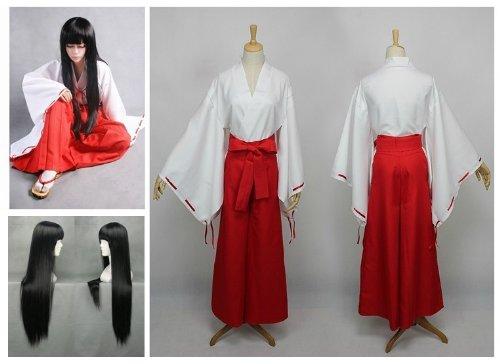 Kostüm Inuyasha - Inuyasha Kikyo Cosplay Kostüm Kimono + Kikyou 80cm Perücke, Größe M :(Höhe 163-167cm,Gewicht 50-60 kg)