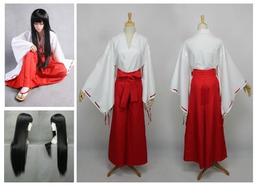 Kostüme Kimono Halloween (Inuyasha Kikyo Cosplay Kostüm Kimono + Kikyou 80cm Perücke, Größe L :(Höhe 168-172cm,Gewicht 60-70)