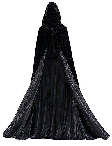 ang mit Kapuze Lange Samt Cape Vampir Kostüm Halloween Erwachsener Unisex (6XL, Schwarz-Schwarz) ()