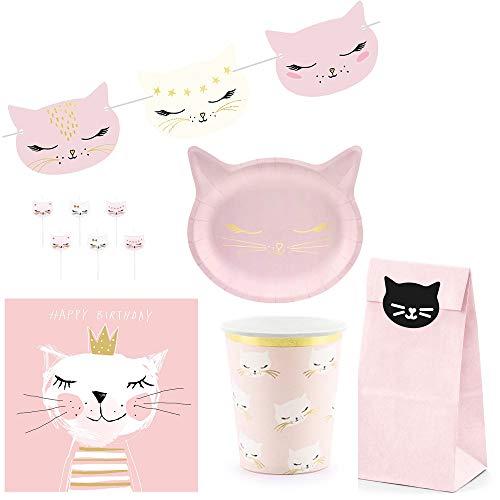 My Wedding Shop Party-Deko Tisch-Deko Dekorations-Set Katze Kitty Kinder-Geburtstag / Prinzessinnen-Party rosa & Gold - 45 Teile - Party-Deko Set Happy Birthday Princess Mädchen (Hello Kitty-geschenke Für Kinder)