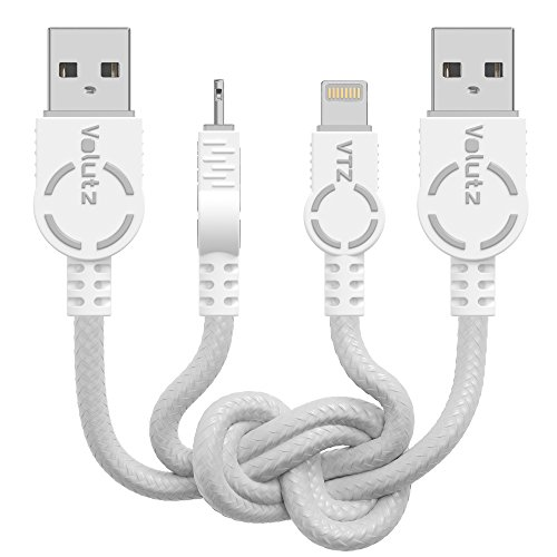 Volutz iPhone Charger Lightning Cable - Apple MFi Certified 2-Pack, 1.8m (6ft) Hyper Fast Charging 8-Pin to USB Leads for iPhone, iPad, iPod, Ghost-White