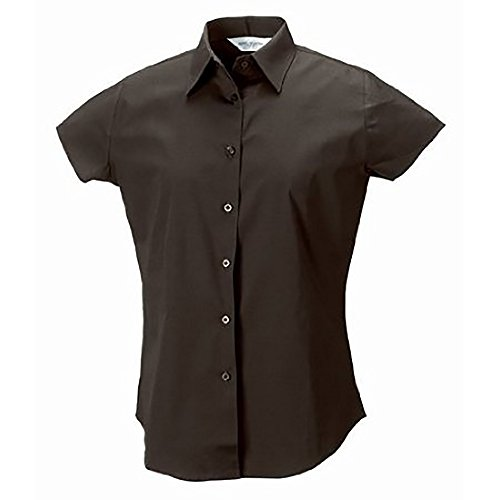 Russell Collection Easy Care Bluse, Kurzarm Schokobraun