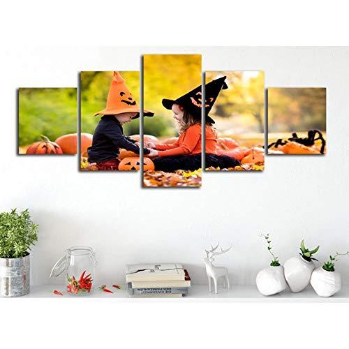 nzimmer Malerei Poster 5 Panel Baby Mädchen Spielen Halloween Moderne Hd Druck Wandkunst Rahmen Leinwand Bild Leinwand Druck 5 Stücke 200X100 cm ()