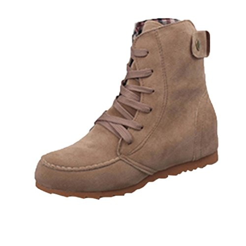 Women Boots Shoes, SOMESUN Le donne piatto Caviglia neve Moto Stivali Donna Suede Lace-Up Leather Boot Kahki