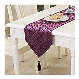 JUNYZZQ Hohle Mahlzeit Flagge Couchtisch Matte Bett Flagge Blume Wildleder Einfache Europäische Modell Zimmer Tisch Flagge, 32X180 cm