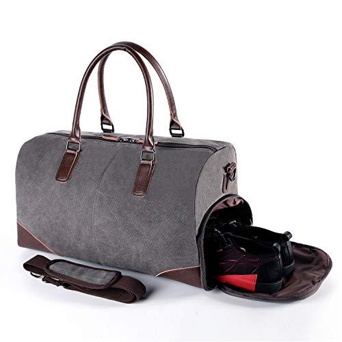 Canvas Leder Gepäck (Fresion Retro Sporttasche Reisetasche Herren - Canvas Reisetaschen mit Schuhfach und 15 Zoll Laptopfach, Weekender Handgepäck Tasche mit PU Leder Damen-Schultertaschen Umhängetaschen Männer,Grau)