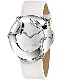 Roberto Cavalli Ladies Watch R7251165715 In Collection Snake, 2 H and S, Silver Dial and White Strap