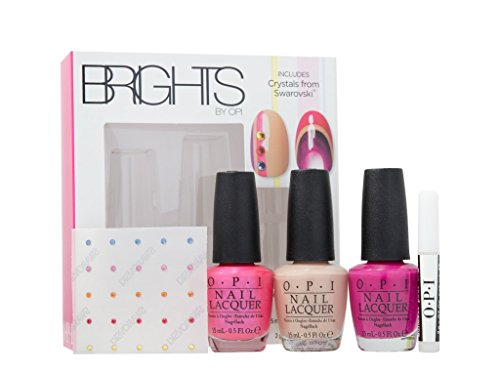 OPI Nail Polish Brights Confezione Regalo 15ml Hotter Than You Pink + 15ml Samoan Sand + 15ml The Berry Thought of You + Cristalli Swarovski + 2g Colla per Unghie - 2g Sand