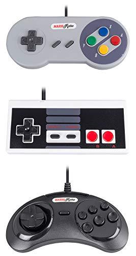 MarioRetro N64 SNES Ps2 NES Sega Gamepad für PC Emulator Rasberry Pi, 3 Pack - 3 2 1 Super Mario Nes