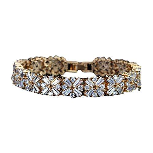 Bobury Women Spring Flower Cubic Zirconia Connected Tennis Bracelet Girl Korean Style Bracelet Lady Jewelry for Wedding