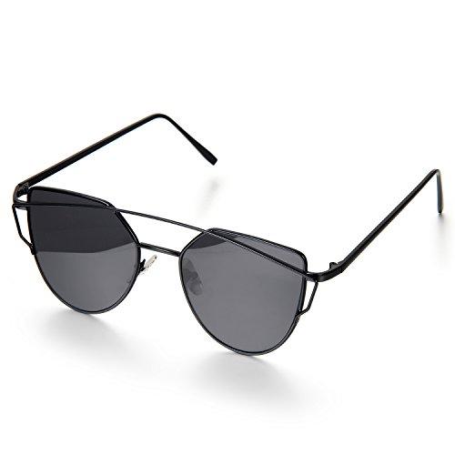 Aroncent Twin-Träger Klassische Frauen Metallrahmen Spiegel Sonnenbrille, Schwarz