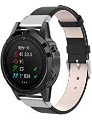 WEINISITE 22 MM Watch Band for Garmin Fenix 5,Leather Replacement Band for Garmin Fenix 5/ Approach S60 Golf/for Garmin Forerunner 935/ Quatix 5 GPS Watch